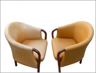 afbleget læderstol renoveret og plejet